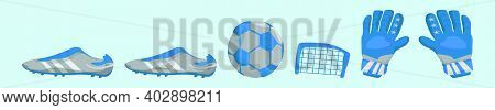 Set Of Goal Keeper Cartoon Icon Design Template With Various Models. Modern Vector Illustration Isol