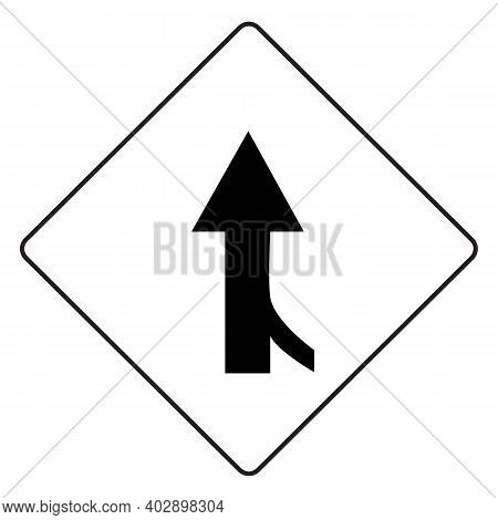 Right Side Road Merging With Main Road. Traffic Warning Sign. Perfect For Backgrounds, Backdrop, Ban