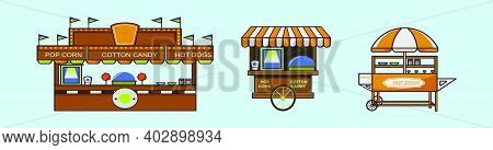 Set Of Concession Cartoon Icon Design Template With Various Models. Modern Vector Illustration Isola