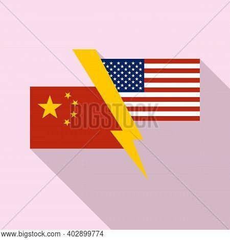 China Usa Trade War Icon. Flat Illustration Of China Usa Trade War Vector Icon For Web Design
