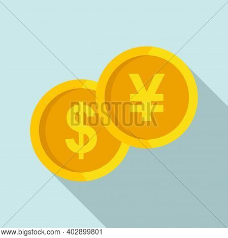 Gold Coin Trade War Icon. Flat Illustration Of Gold Coin Trade War Vector Icon For Web Design