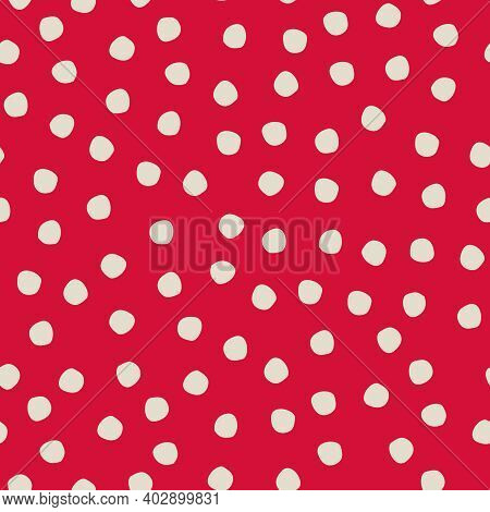 Seamless Hand Drawn Polka-dot Pattern On Red Background For Surface Design And Other Design Projects