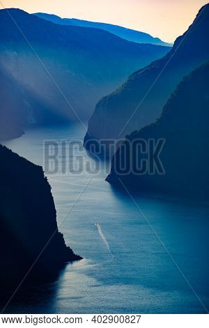 Aurlandsfjord Fjord Landscape, Norway Scandinavia. National Tourist Route Aurlandsfjellet