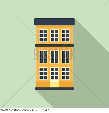 Swedish Apartments Building Icon. Flat Illustration Of Swedish Apartments Building Vector Icon For W