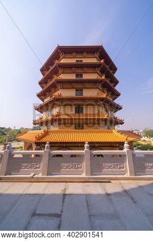 National Fo Guang Shan Thaihua Temple In Bangkok Downtown, Thailand. Smart Urban City. Chiang Kai Sh