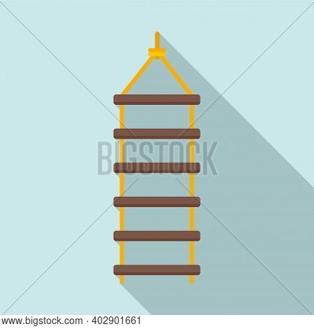 Industrial Climber Rope Ladder Icon. Flat Illustration Of Industrial Climber Rope Ladder Vector Icon