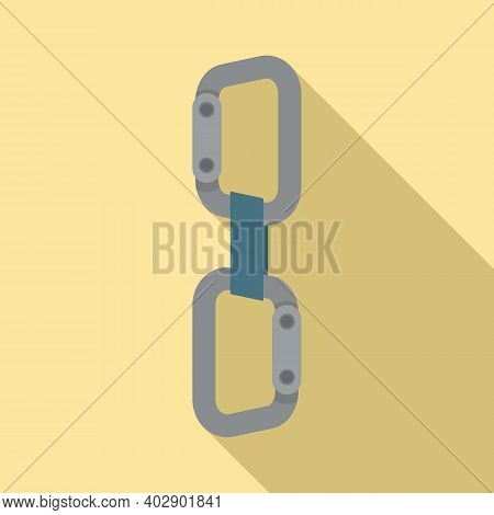 Industrial Climber Modern Carabine Icon. Flat Illustration Of Industrial Climber Modern Carabine Vec