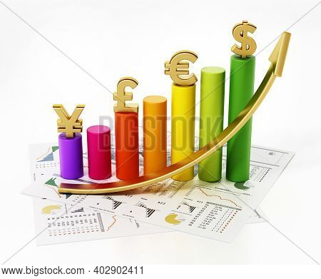 Rising Arrow And Chart With Dollar, Euro, Pound And Yen Symbols. 3d Illustration.