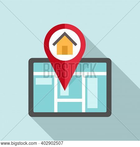 Tablet Realtor Home Icon. Flat Illustration Of Tablet Realtor Home Vector Icon For Web Design