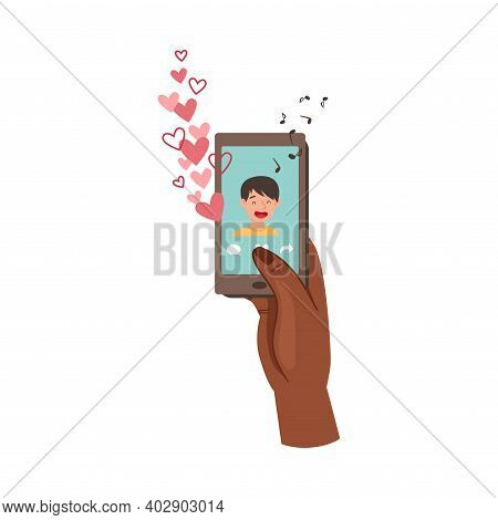 Human Hand With Smartphone Liking Post In The Internet Vector Illustration