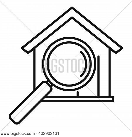 Realtor Search House Icon. Outline Realtor Search House Vector Icon For Web Design Isolated On White