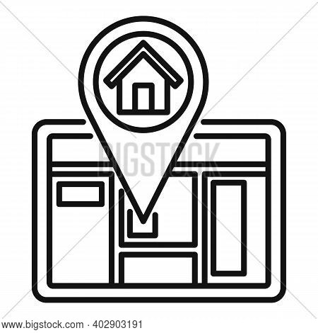 Tablet Realtor Home Icon. Outline Tablet Realtor Home Vector Icon For Web Design Isolated On White B