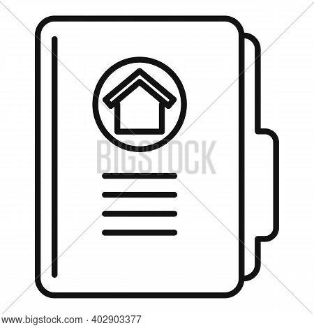 Realtor House Folder Icon. Outline Realtor House Folder Vector Icon For Web Design Isolated On White