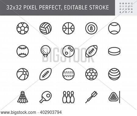 Sport Balls Line Icons. Vector Illustration With Minimal Icon - Soccer, Rugby, Basketball, Table Ten