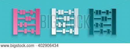 Paper Cut Abacus Icon Isolated On Blue Background. Traditional Counting Frame. Education Sign. Mathe