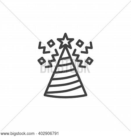 Party Hat And Confetti Line Icon. Linear Style Sign For Mobile Concept And Web Design. Party Hat Wit