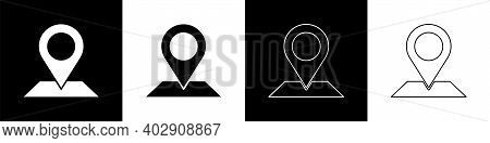 Set Map Pin Icon Isolated On Black And White Background. Navigation, Pointer, Location, Map, Gps, Di