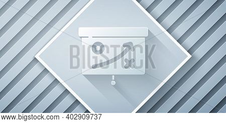 Paper Cut Planning Strategy Concept Icon Isolated On Grey Background. Cup Formation And Tactic. Pape