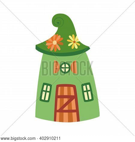 Cute Green Cartoon House Of Dwarves Or Elves Flat Vector Illustration Isolated.