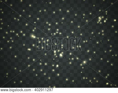 Glowing Light On A Transparent Background. Glowing Particles, Magic Glow. Sparkling Light. Vector Il