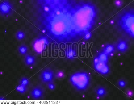 Glowing Light On A Transparent Background. Glowing Particles Purple Color, Magic Glow. Sparkling Lig