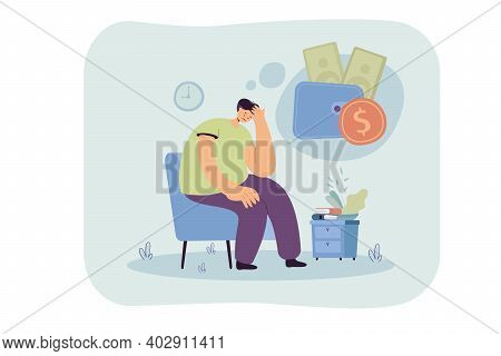 Sad Unhappy Person Having Money Problem. Broke Man Feeling Sad And Depressed, Staying Home And Think
