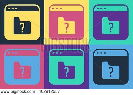 Pop Art File Missing Icon Isolated On Color Background. Vector