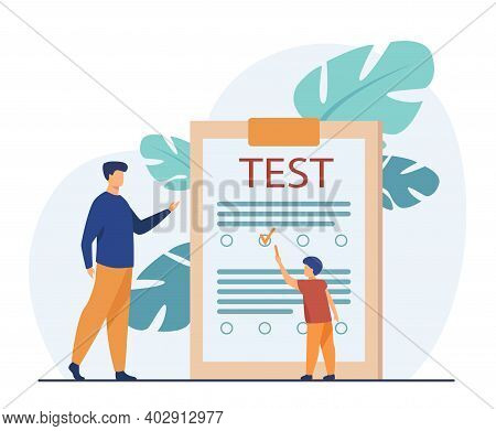 Tiny Boy Answering Questions Of Test. Child, Exam, Teacher Flat Vector Illustration. Education And S