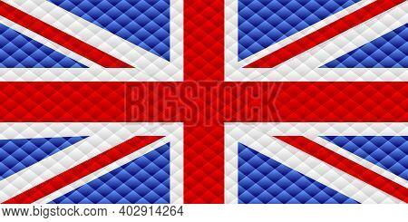 Mosaic Flag Of The United Kingdom - Illustration,  Three Dimensional Flag Of United Kingdom