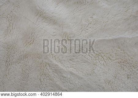 Beige Fuzzy Soft Fleecy Nap Texture. Natural Background Idea