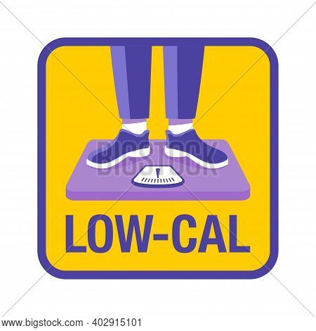Low Cal Icon - Pictogram For Dietary Low-cal Food Products - Woman Standing On Weight Scales, Isolat