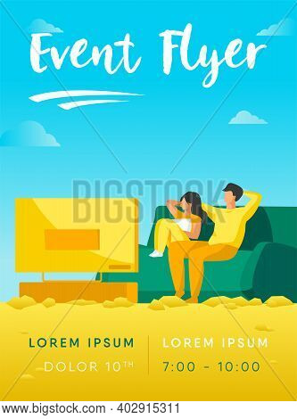 Happy Couple Watching Tv Together. Relaxation, Sofa, Movie Flat Vector Illustration. Family And Ente