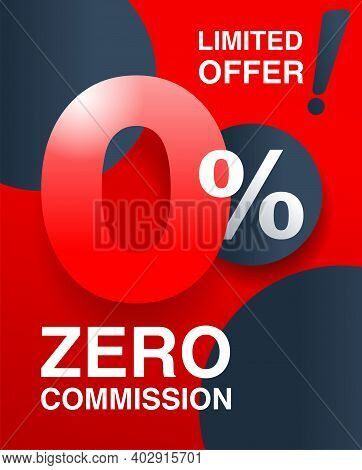 0 Percents Red Banner - Zero Commission Special Offer Layout Template With Zero Digit And Red Backgr