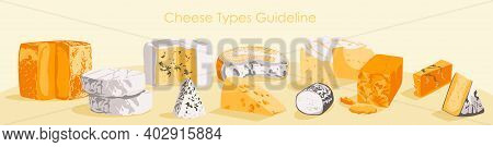 Cheese Type Guideline. Organic Nutritious Products Set, Dairy Production, Farmers Market, Organic Fo