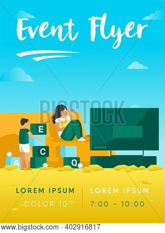 Mother Watching Tv And Son Playing Near Her. Fun, Game, Leisure Flat Vector Illustration. Family And