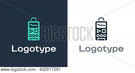 Logotype Dictaphone Icon Isolated On White Background. Voice Recorder. Logo Design Template Element.
