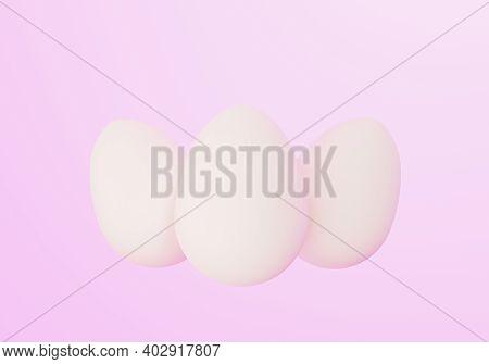 Three White Easter Eggs On Light Pink Background, Eastertime, 3d Illustration