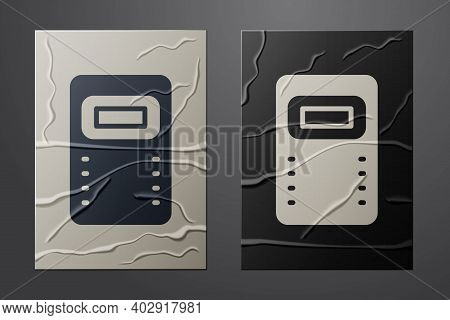 White Police Assault Shield Icon Isolated On Crumpled Paper Background. Paper Art Style. Vector
