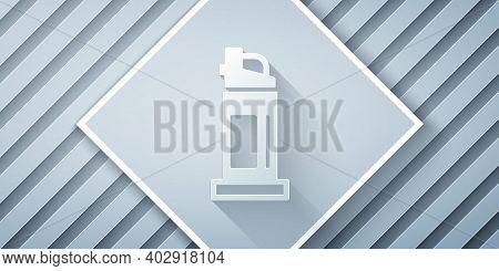 Paper Cut Pepper Spray Icon Isolated On Grey Background. Oc Gas. Capsicum Self Defense Aerosol. Pape