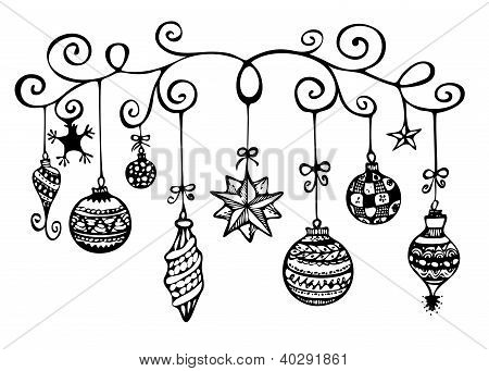 Christmas ornaments sketch in black and white poster