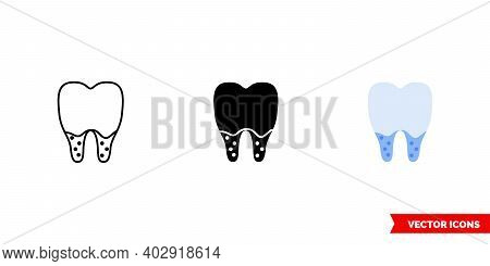Dental Caries At The Root Icon Of 3 Types Color, Black And White, Outline.isolated Vector Sign Symbo