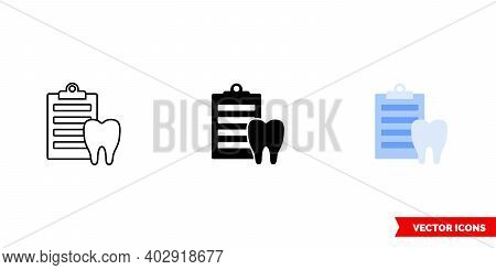 Dental Report Icon Of 3 Types Color, Black And White, Outline. Isolated Vector Sign Symbol.