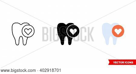 Healthy Tooth Icon Of 3 Types Color, Black And White, Outline. Isolated Vector Sign Symbol.