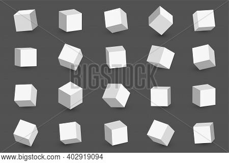 3d Cubes In Different Perspective, Angles And Isometric View. White Cubes Or Blocks With Shadow Isol