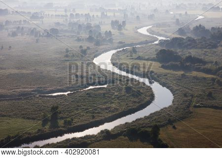 Top View River Background. Sunrise Landscape. Narew River In Poland. Podlasie District Aerial View.