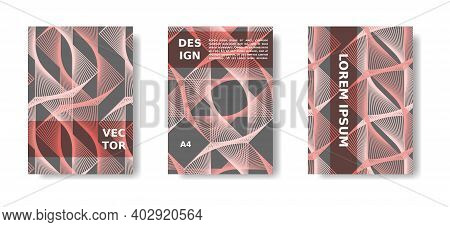 Minimal Cover, Poster Set. Coral Color And Grey Template. Vibrant Cover Design With Lines. Vector A4