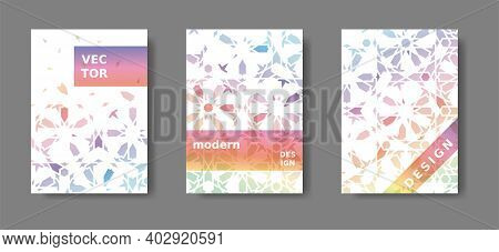 Annual Report A4 Vector Set. Rainbow Cover Design With Arabic Mosaic. Disintegration Geometric Poste