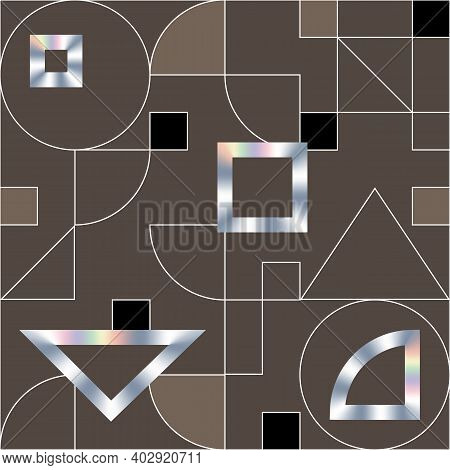 Geometric Swiss Modernism Vector Seamless Pattern. Modern Geometric Texture With Holographic Shapes