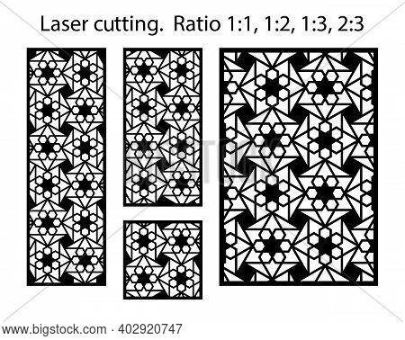 Jali Decorative Vector Panels Design. Cnc Template Set. Laser Pattern. Set Of Geometric Screens For