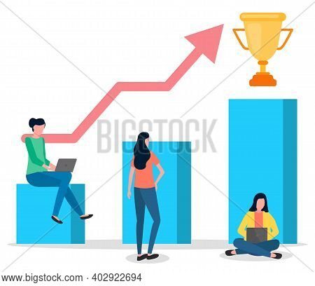 Way To Success, Growing Graphic Or Chart With Big Arrow And Golden Cup, Women Working At Laptop, Gro